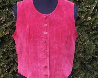 Vintage Womens Red Genuine Leather Vest (Medium Size)