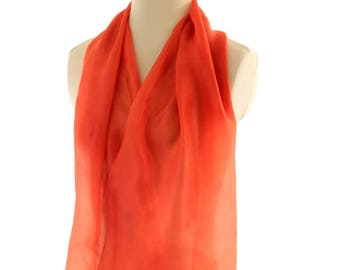 Tangerine orange silk scarf, naturally dyed scarf light ponge silk 5m, madder hand dyed eco dyed silk, plant dyed shawl, mothers day gift