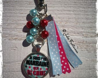 "Cabochon bag charm ""I'm a godmother who rocks"""