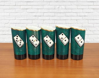 Mid Century Domino Barware Set of 5 Green Ceramic Tumblers
