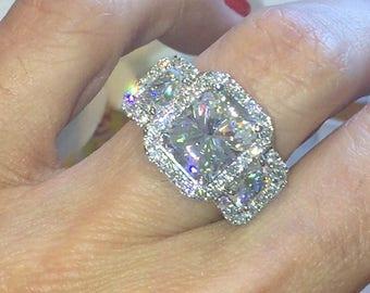 Forever One Moissanite Engagement Ring 3.90ct Radiant Cut Moissanite Ring 1.40ct Radiants 18k White gold Anniversary Pristine Custom Rings
