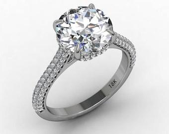 Forever One Moissanite Engagement Ring Center 9.5mm Round Moissanite  .47ct Natural Diamonds Hidden Halo Ring 18k Gold Pristine Custom Rings