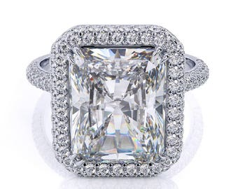 Forever One Moissanite Ring 3.90ct Radiant Cut Engagement Ring .70ct Genuine Diamonds Vintage Deco Style Martini Halo Pristine Custom Rings