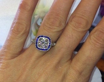 Moissanite Engagement Ring 2.00ct Cushion Cut Forever One Ring Natural Diamond and Sapphire Art Deco Ring Gold ring Pristine Custom rings