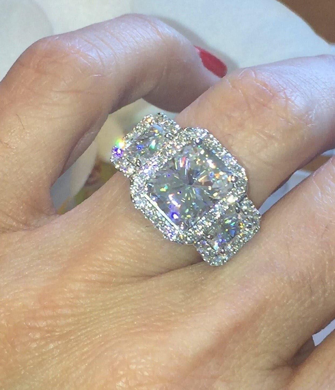 Forever One Moissanite Engagement Ring 3 90ct Radiant Cut