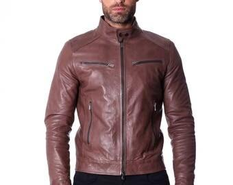 Genuine leather biker jacket, mao collar, soft natural leather, brown color