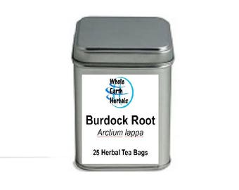 Burdock Root Tea Bags 25 Organic Herbal Tea Bags in Decorative Tea Tin
