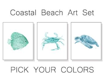 Coastal Art Coastal Prints Coastal Decor Coastal Wall Art Beach Home Decor Ocean Art Blue Green Sea Life Watercolor Fish Crab Turtle Set 3.