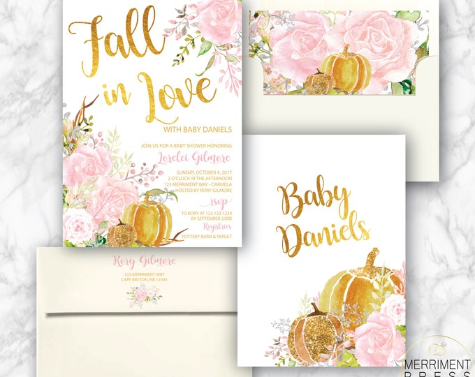 Fall Baby Shower Invitation // Pumpkin Baby Shower // Floral // Pink // Roses // Gold // Fall in Love // Watercolor // CARMEL COLLECTION