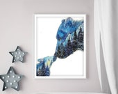 Goodnight Kiss - Mama & Baby Bear, Night Sky Mountains Forest Spirit Animal Art print, Unique Watercolor Painting, Nursery decor, 8x10 11x14
