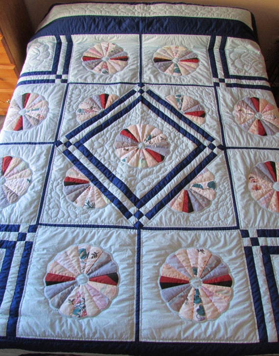 Dresden Plate Quilt, Patchwork Quilt, Queen Size Quilt, Amish Quilt, Hand Made Quilt, Country Quilt, Blue Quilt, Traditional Quilt,Bedspread