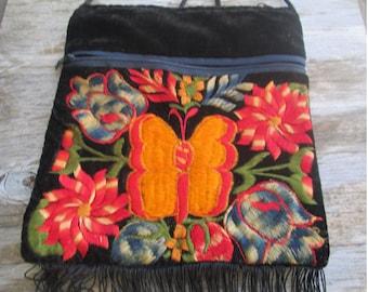 Gorgeous  70s Black Velvet Orange Butterfly Flower Embroidered Cossbody Hippie Bag