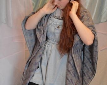 Pink, Blue, and Grey winter Blanket Poncho