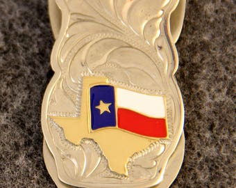 Money Clip - IN STOCK Hand Engraved Money Clip with R/W/B Enameled Texas Flag over a Brass Texas   Makes a Great Gift for Men or Women