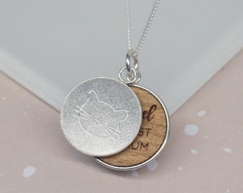Secret Message Necklace, Hidden Message, Gift for Her, Cat necklace, Personalised Cat Mum Disc Necklace