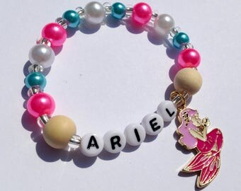 Mermaid bracelet girls children jewelry mermaid charm bracelet mermaid jewelry little girl pearl bracelet personalized mermaid bracelet pink