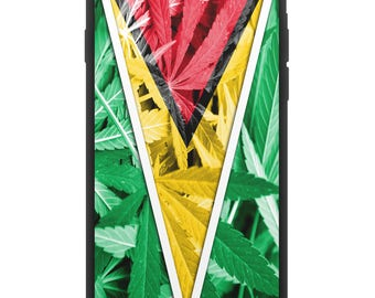 Guyana Weed Flag Hybrid Rubber Protective Phone Case
