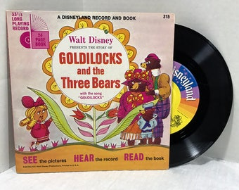 Walt Disney's The Story Of Goldilocks And The Three Bears vinyl record and book 1967 VG Disneyland Records Children Kids Storybook