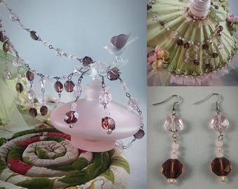 Pink and Burgundy Crystal Necklace and Earring Set