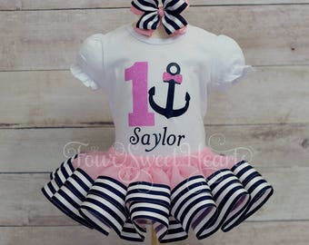 Nautical Birthday Outfit, Girls Anchor First Birthday, Anchor Outfit, Girl Birthday Outfit, Girl Sailor Birthday Outfit, Anchors Aweigh Tutu