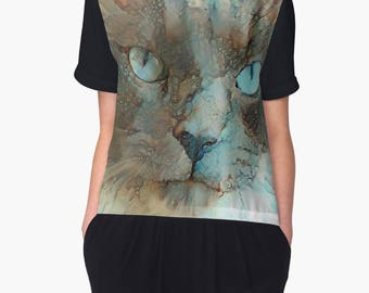 Cat Clothing, Cat Top, Womans Top, Chiffon Top Women, Short Sleeve Top, Unique Clothing, Summer Top Women
