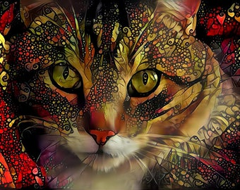 Cat Poster, Cat Wall Decor, Gift for Cat Owner, Gift for Cat Dad, Tabby Cat, Cat Art Print, Cat Lady Gift, Abstract Cat Art