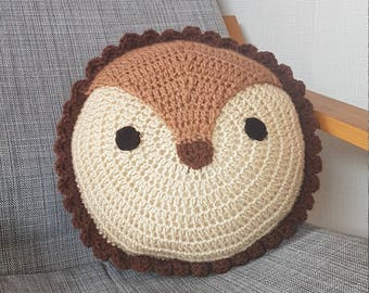 Hedgehog crochet cushion