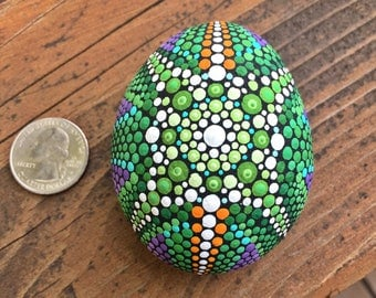 Psychedelic Painted Stone Mandala - Jungle Realm