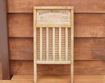 Old National Washboard, Vintage Wood and Metal Washing Board, Galvanized Washboard, Vintage Laundry Decor