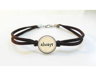 Always Bracelet - Leather Bracelet - Harry Potter Inspired Severus Snape  Always Gift