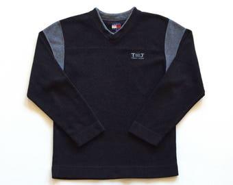 Vintage Tommy Hilfiger Jeans Deadstock Long Sleeve Sweatshirt Black & Grey Striped Fleece Polyester V Neck Crew Neck Sweater Mens Medium