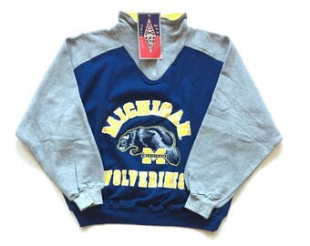 NWT DEADSTOCK 90s michigan  wolverines ncaa football sweater half zip pullover sweatshirt size medium unisex adult new with tags