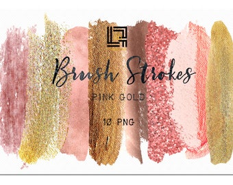 Pink gold glitter.  Brush Strokes Clip Art . Pink gold collection. Watercolor clipart. Digital Design Resource. Branding.