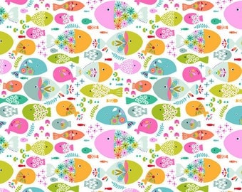 COTTON FABRIC Swimming With The Fishes (white) - 'Go Fish' by Blend Fabrics 100% premium cotton