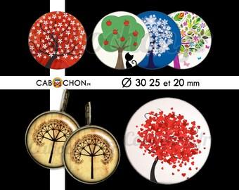 Au Pied de mon Arbre • 45 Images Digitales RONDES 30 25 20 mm feuille tronc racines branches klimt saison automne hiver printemps ete cat