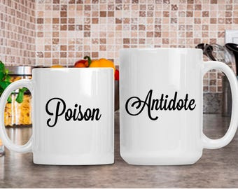 Poison Antidote Mug Set, Funny Coffee Mug Gift for Him or Her, Birthday Anniversary Retirement Cup,