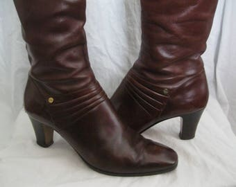 Brown Leather Tall Salvatore Ferragamo Boots Size 10 M