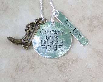 Country road take me home necklace - gift for her - country - hand stamped