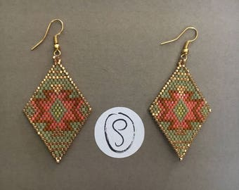 Triangle earrings in ethnic style in shades of khaki and orange miyuki beads