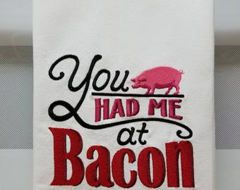 Bacon/Embroidered Bacon/Embroidered Pig Kitchen/Tea Towel