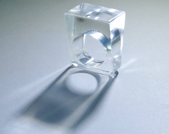 Mod Modernist 1960's Carved Clear Lucite Cube Ring