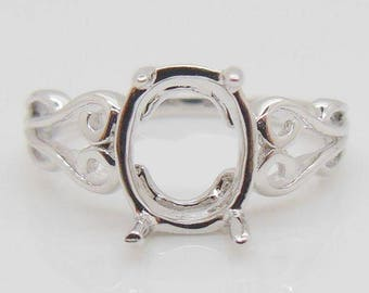 Solitaire Ring,  14K White Gold 6X8MM Oval Shape Semi Mount Ring For Women