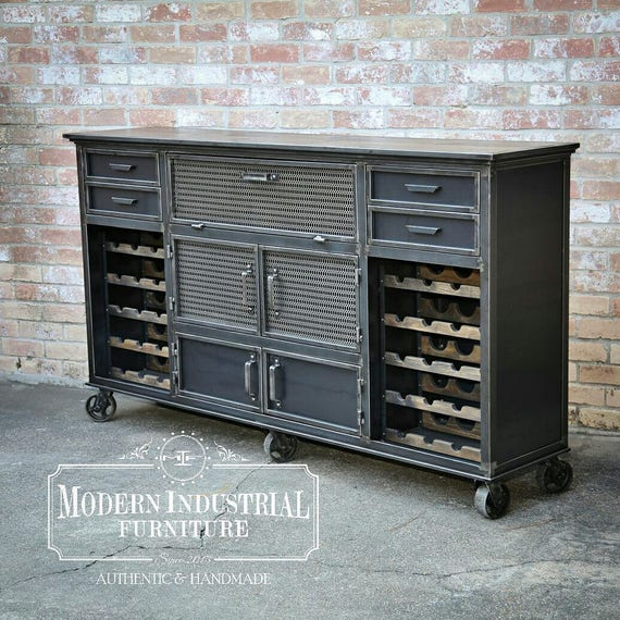 Industrial Contemporary: Modern Industrial Wine Cabinet Credenza Bar Storage Liquor