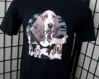 Basset Hound - dog lover t-shirt Large black cotton tee - Makes a great gift!