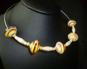 """Earrings in gift + his """"African"""" Choker made of painted cardboard beads, small yellow wood, paper beads"""