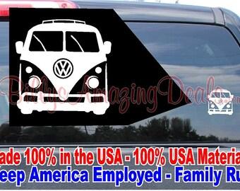 VW Volkswagen Bus Vinyl Decal Peace Love Van Hippie German Sticker Microbus Splitscreen Splittie