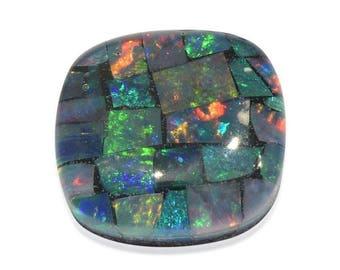Australian Mosaic Opal Chip Triplet Cushion Cabochon 1A Quality 8mm TGW 1.50 Cts.