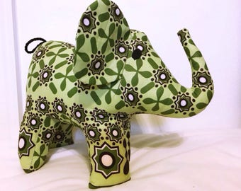 "Large african stuffed Elephant #1223 made by Ugandan Disabled Women. 10"" height and 8"" wide."