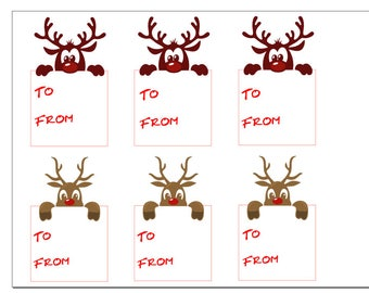 Christmas gift tags - Reindeer peeking