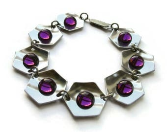 Amethyst glass + stainless steel bracelet, hexagonal links 70s midmod design vintage space age jewelry, 1970s purple modernist hexagons 1168
